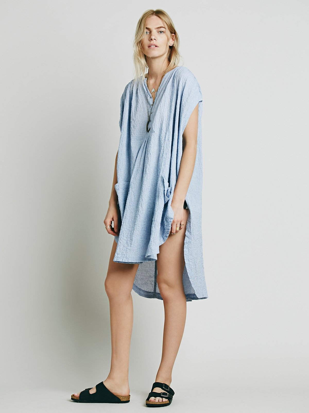 Check Gauze Pocket Tunic