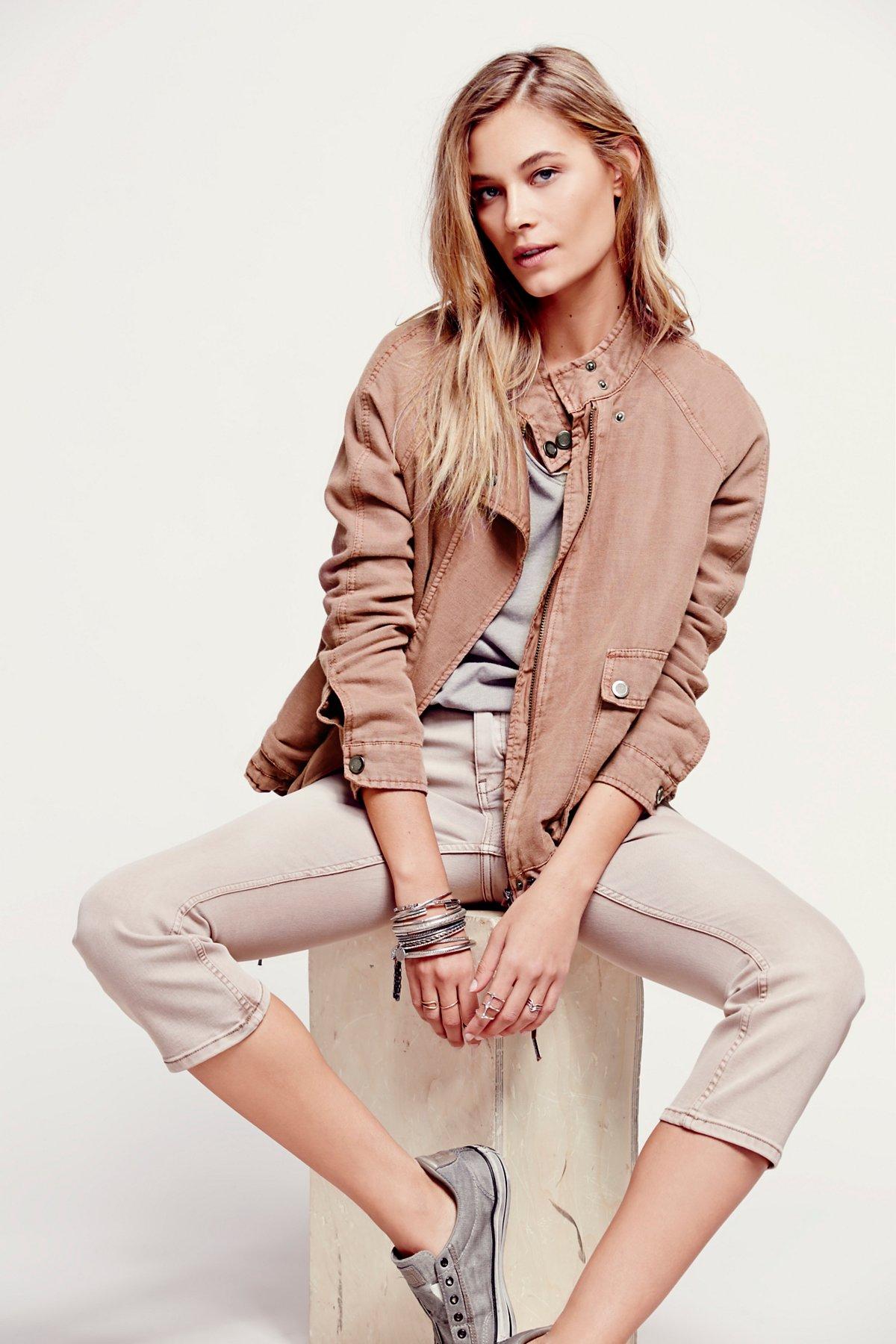Double Cloth Zip Up Jacket