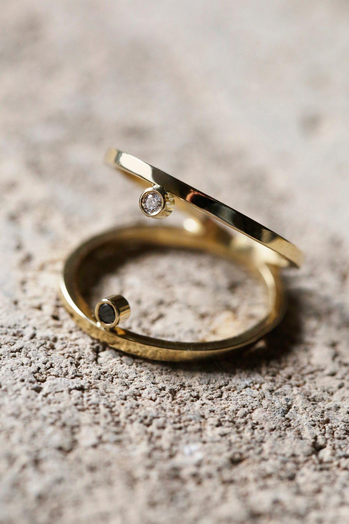 Floating Diamond Double Ring