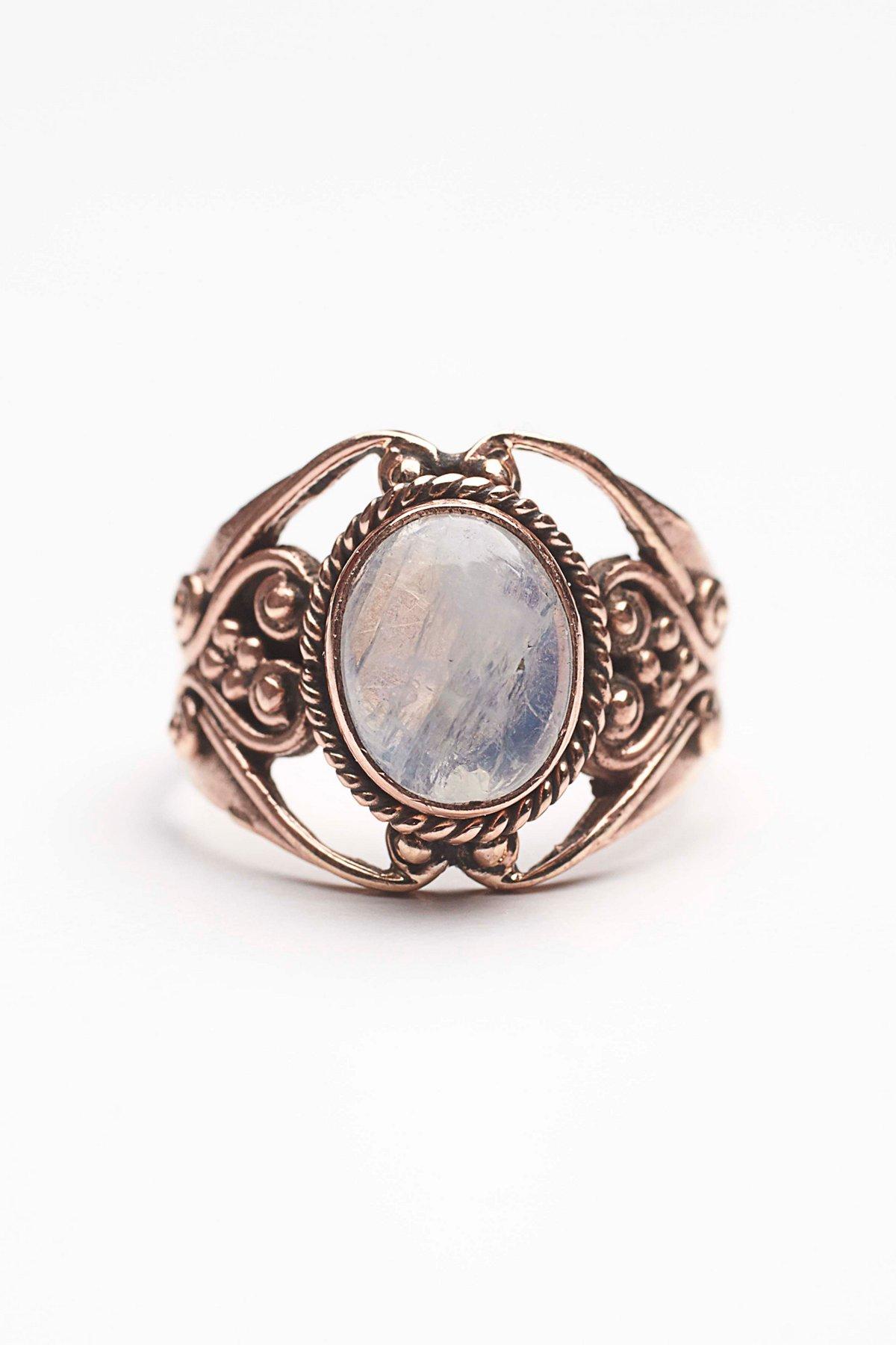 Moonstone Engraved Ring