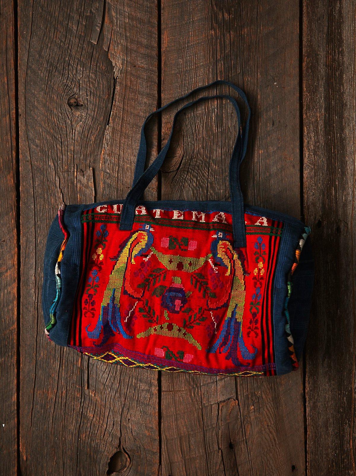 Vintage Embroidered Denim Duffle