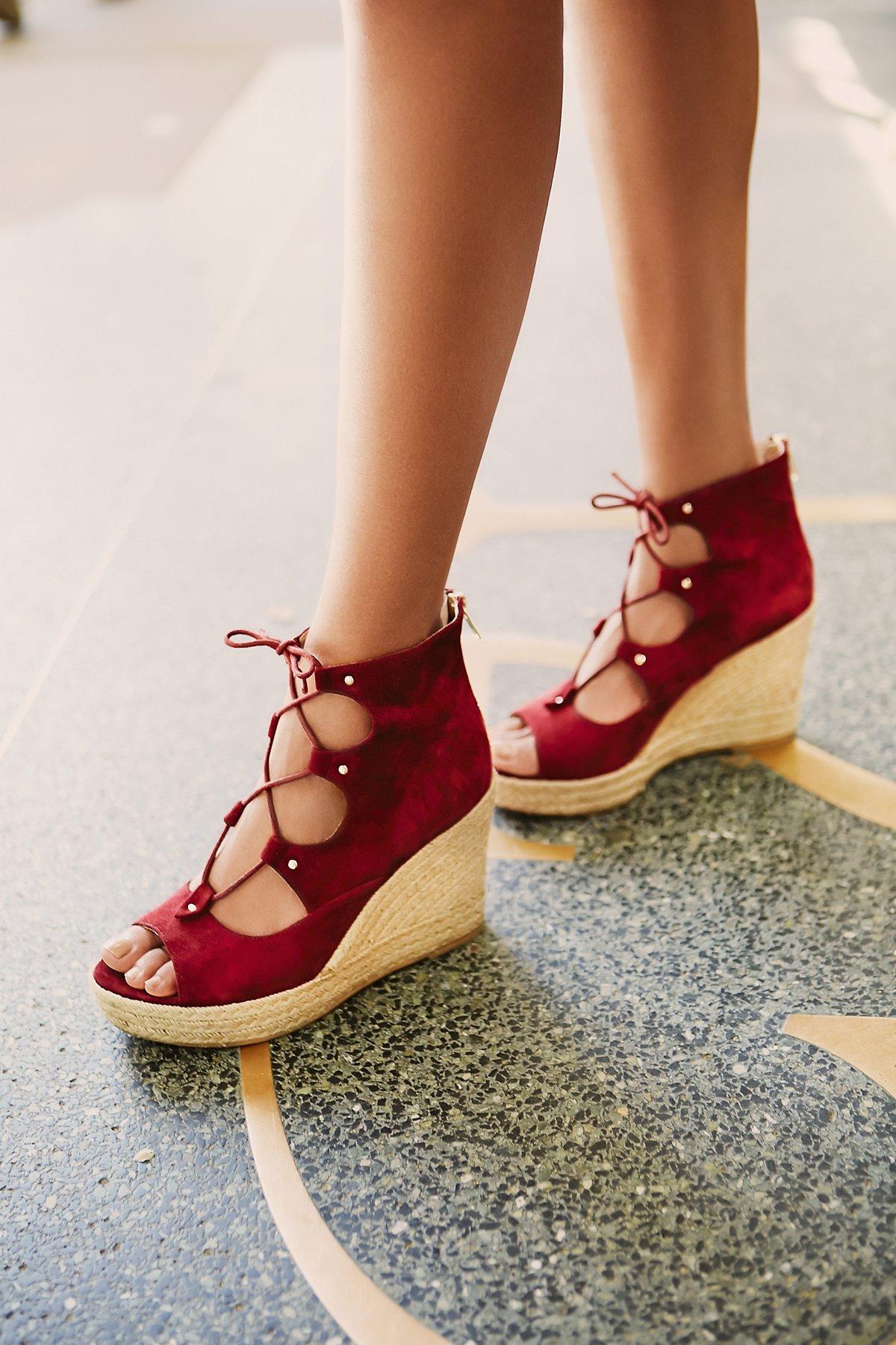 Prima系带坡跟鞋