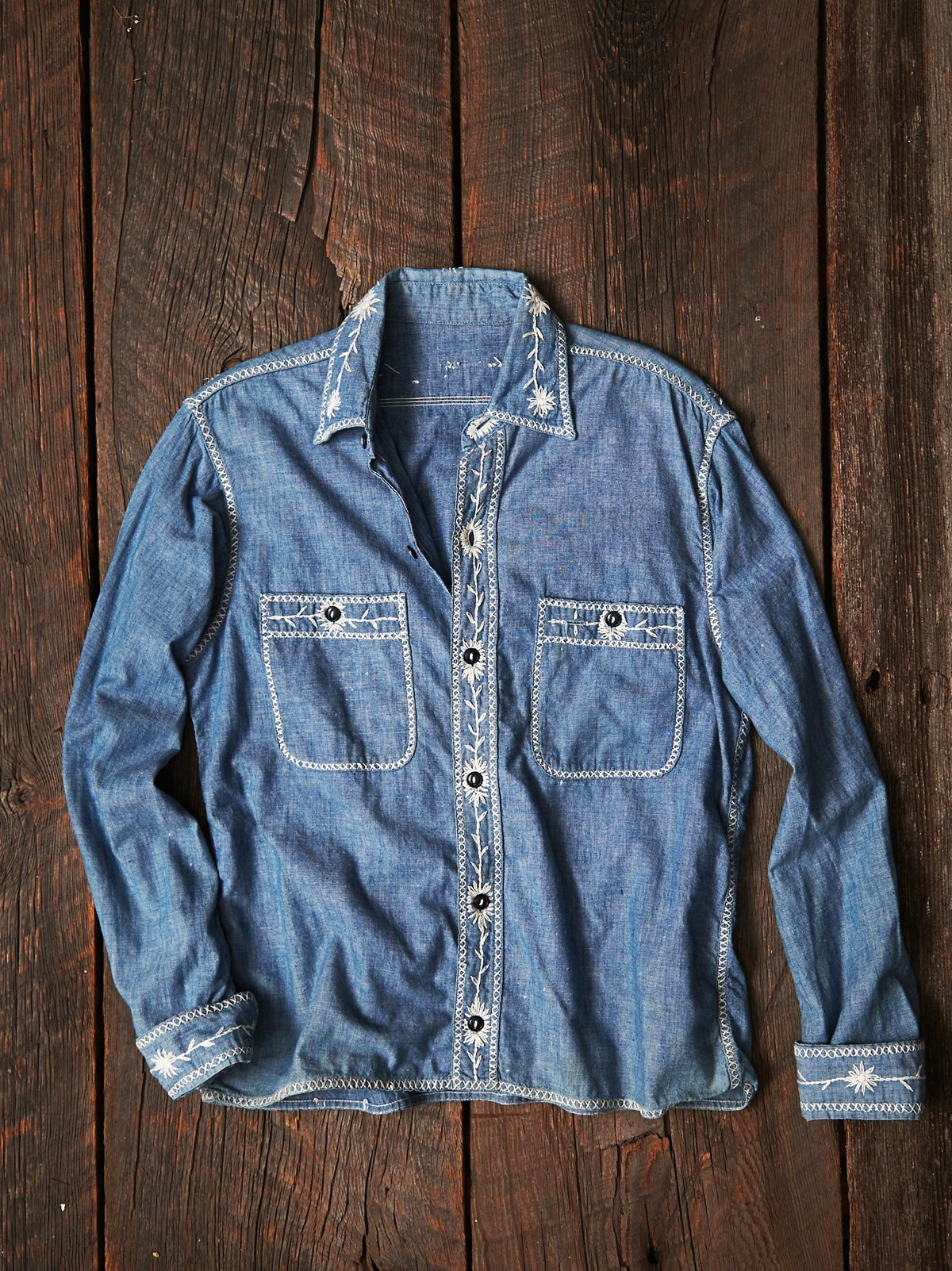 Vintage Embroidered Denim Shirt