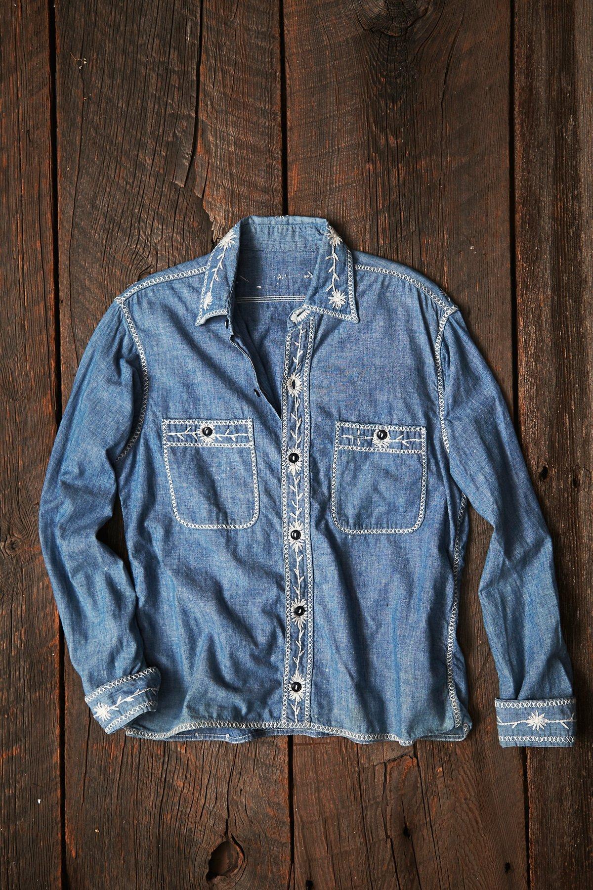 Vintage Embroidered Denim Shirt