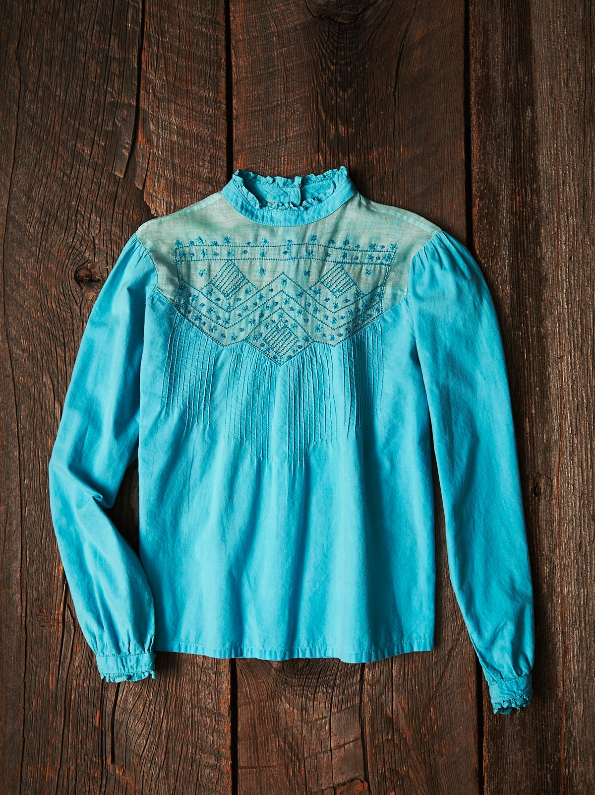 Vintage Teal Embroidered Shirt
