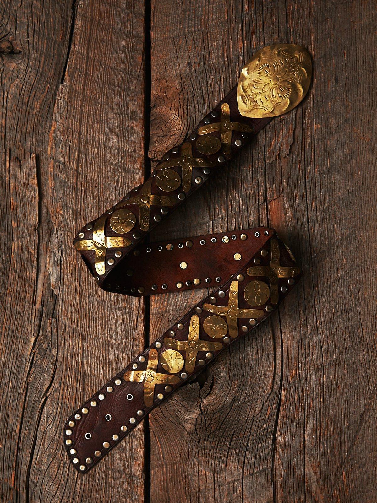VIntage Metal & Leather Belt