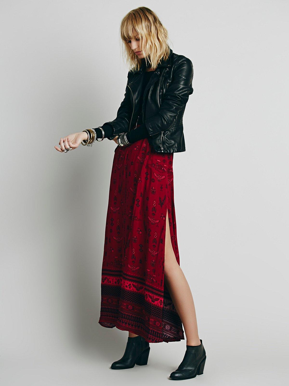 Phoenix Print Maxi Skirt