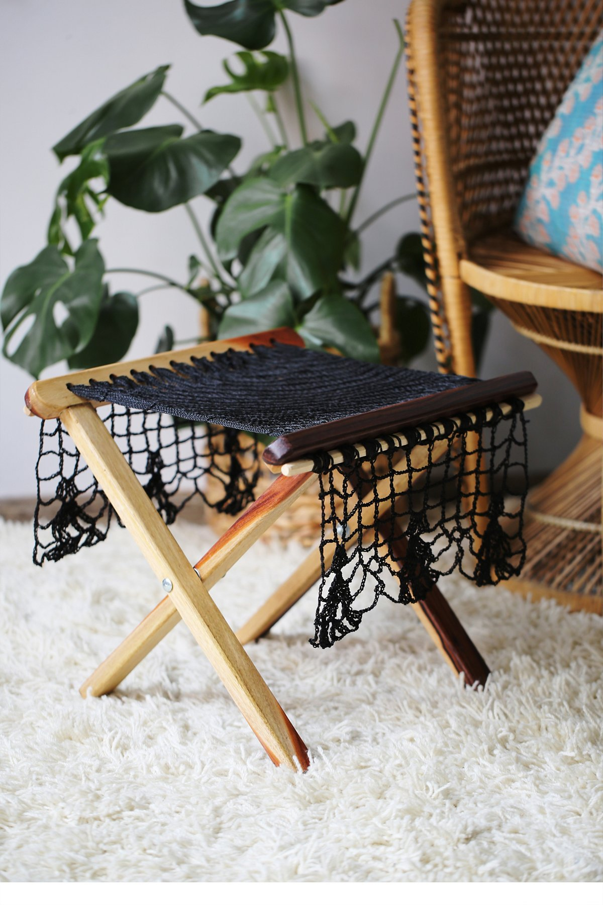 Wooden Ottoman With Macrame