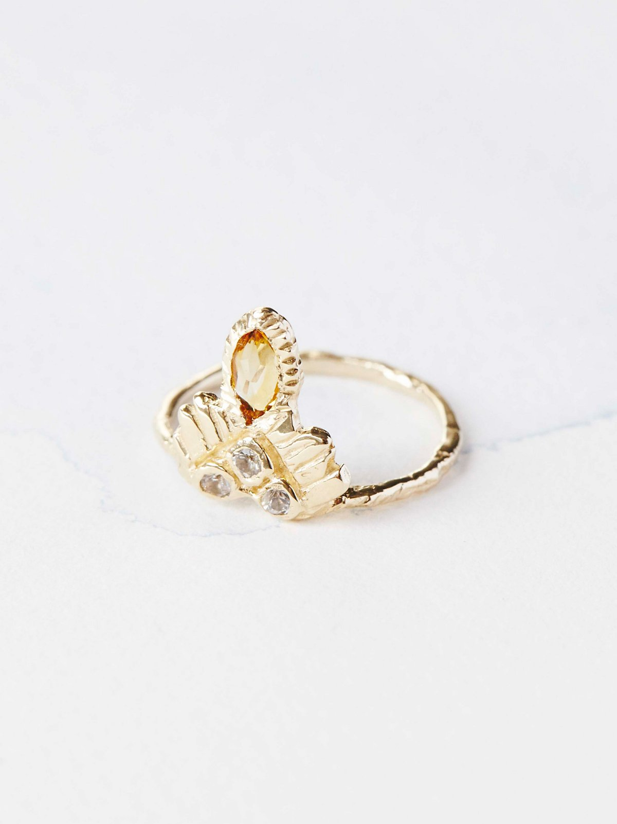 14K Enlightened Warrior Stone Ring