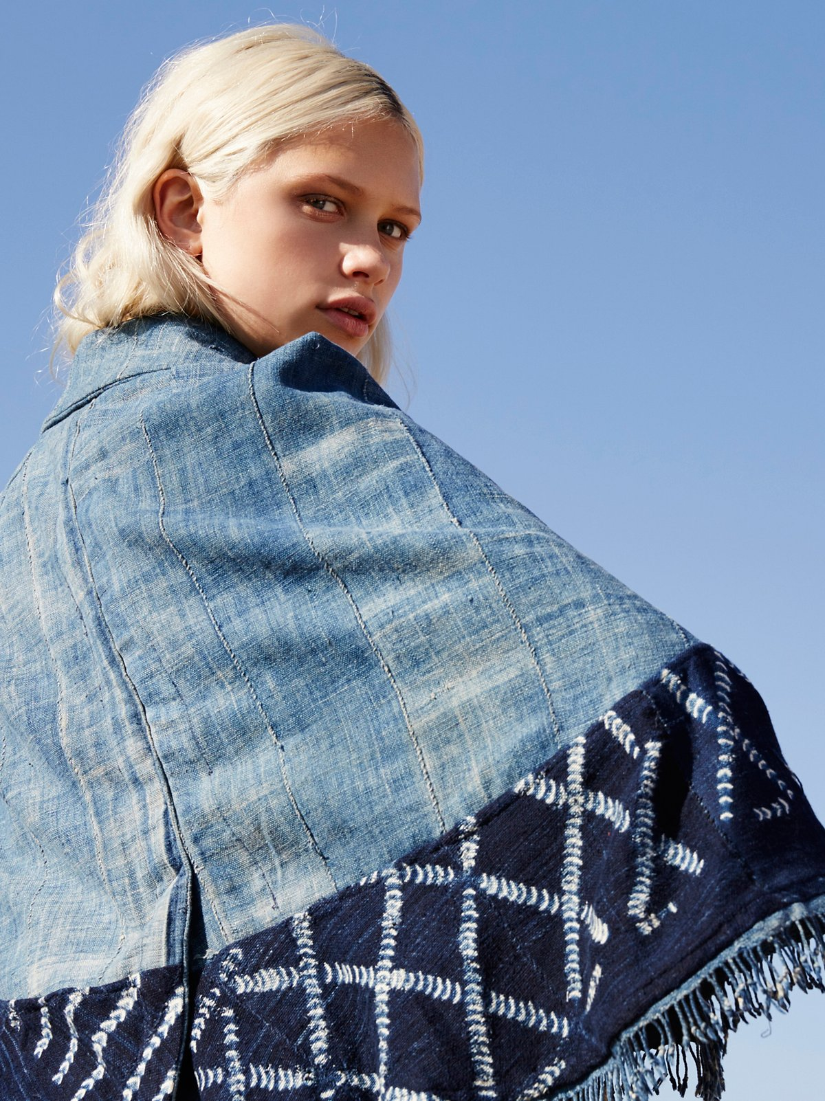 Batik Indigo Denim Cape