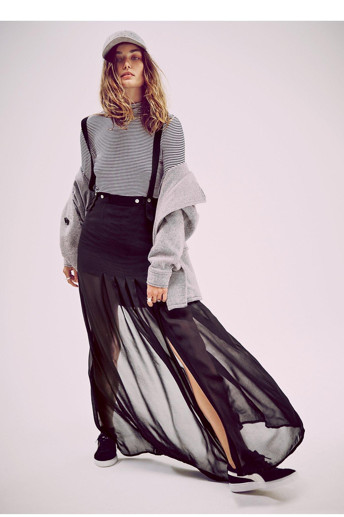 背带及踝长裙