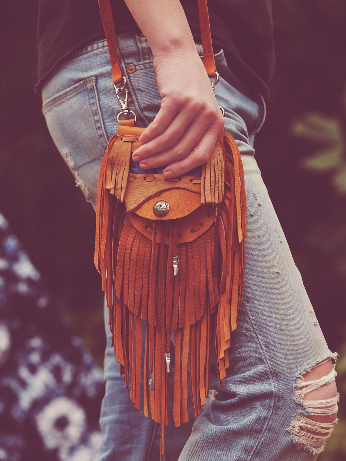 One-Of-A-Kind Leather Fringe Bag