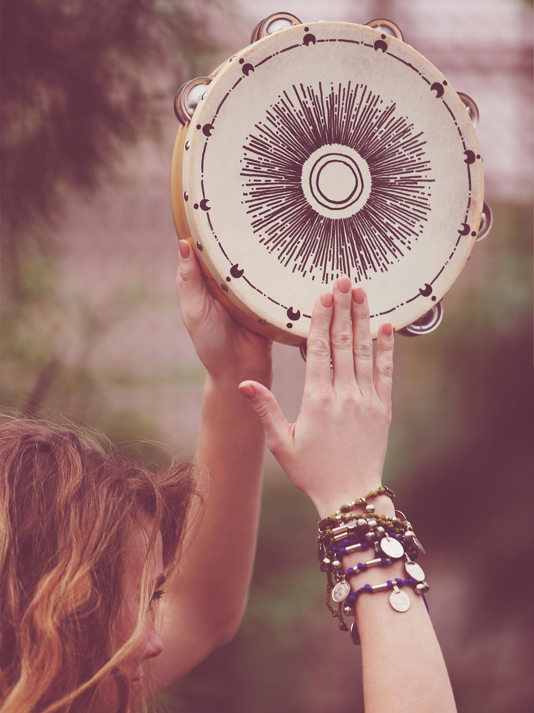 Hand painted tambourine