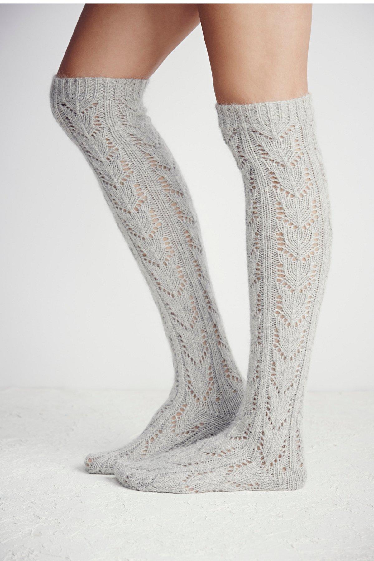 Wonderland Pointelle Over The Knee Sock