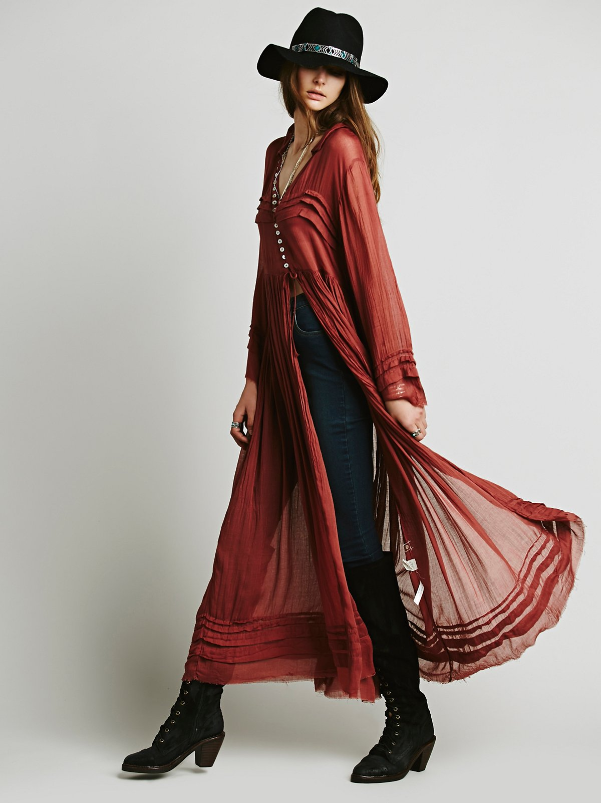 FP One Shirred Buttondown Maxi