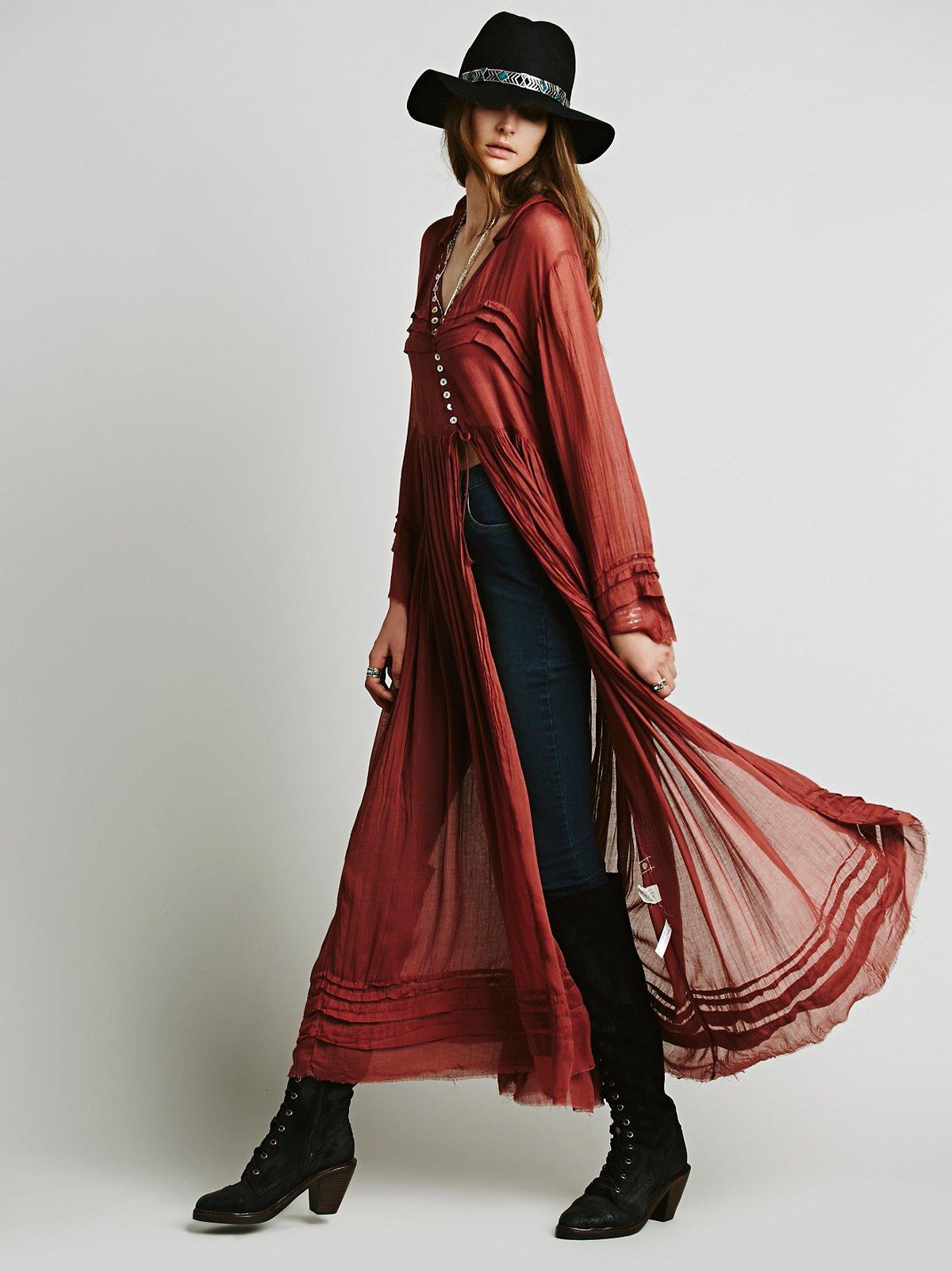 FP One Shirred系扣及踝长裙