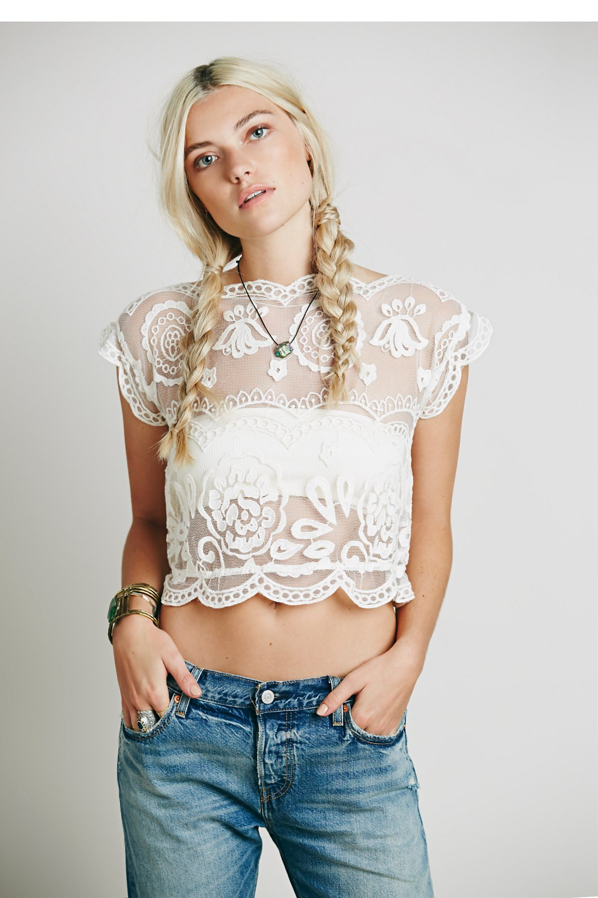 Lace Crop Short Sleeve Top