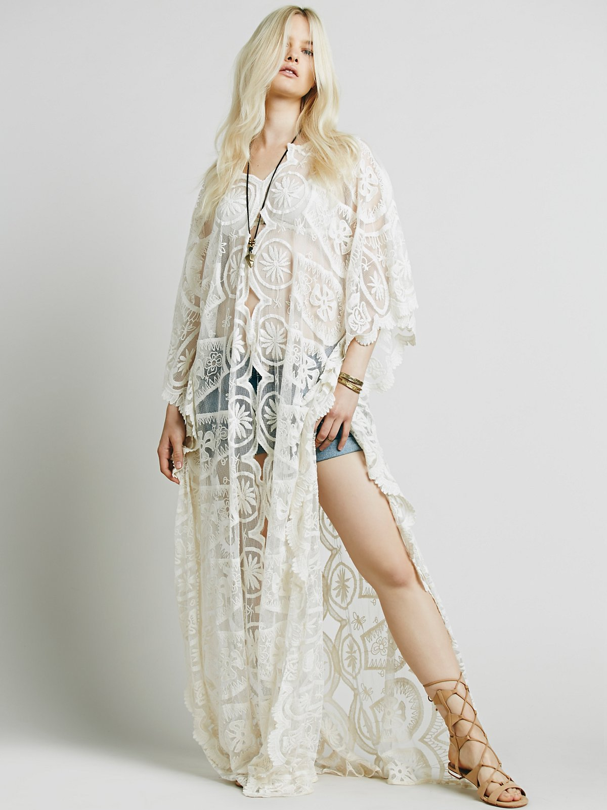 Ways of the Rays Maxi Lace Poncho