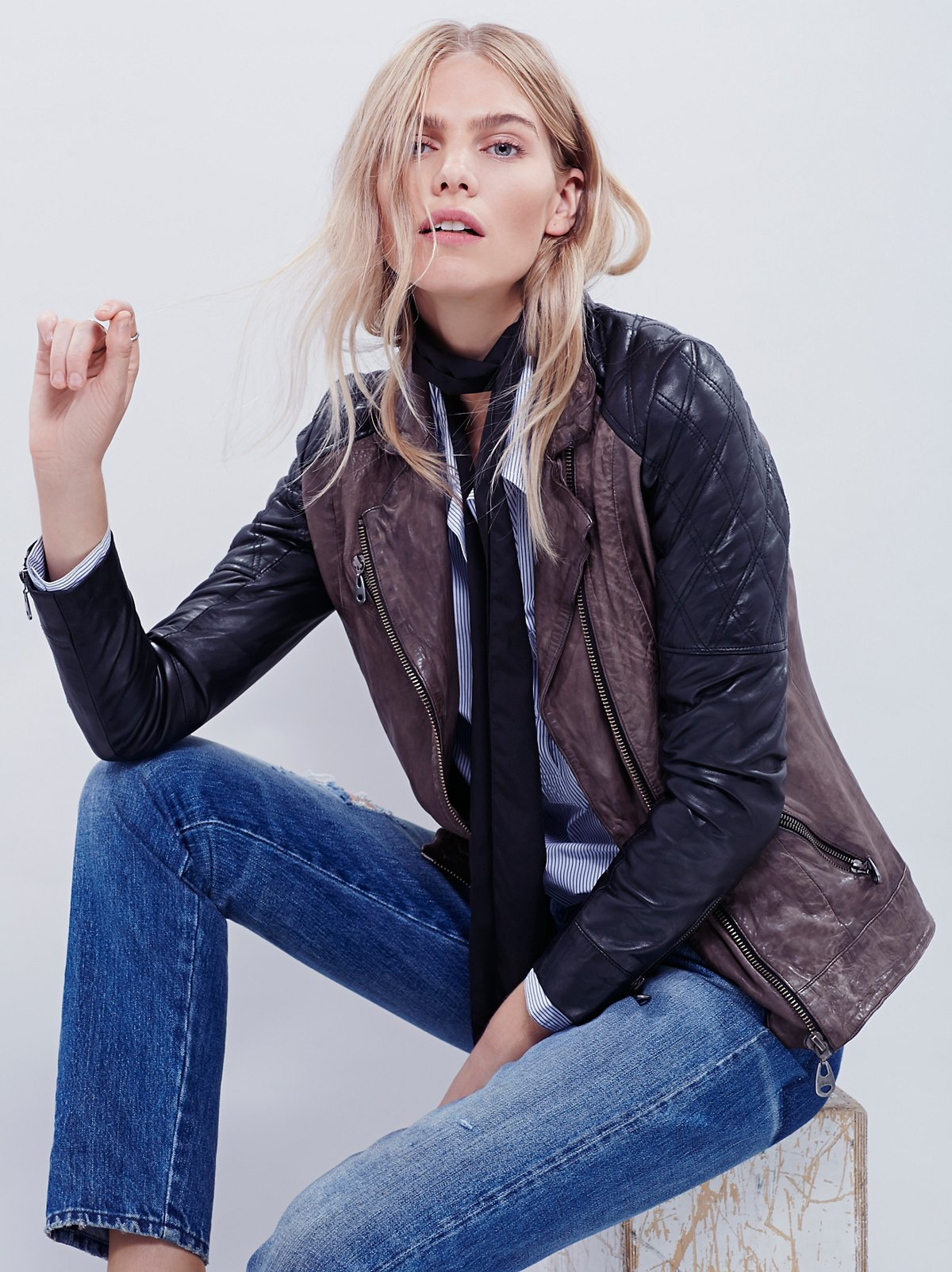 Doma Two Tone Leather Moto