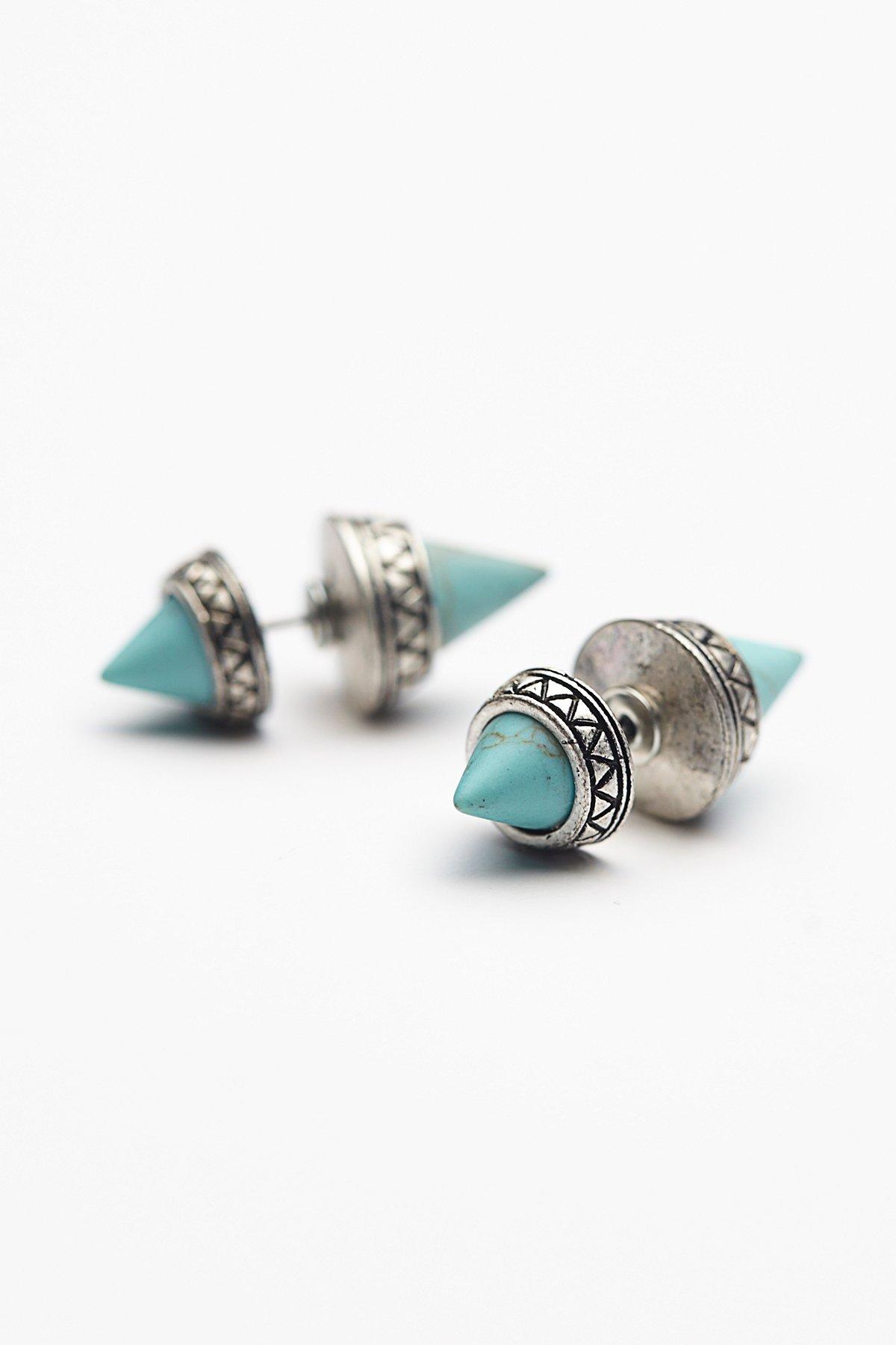金字塔造型双耳钉后挂式耳环
