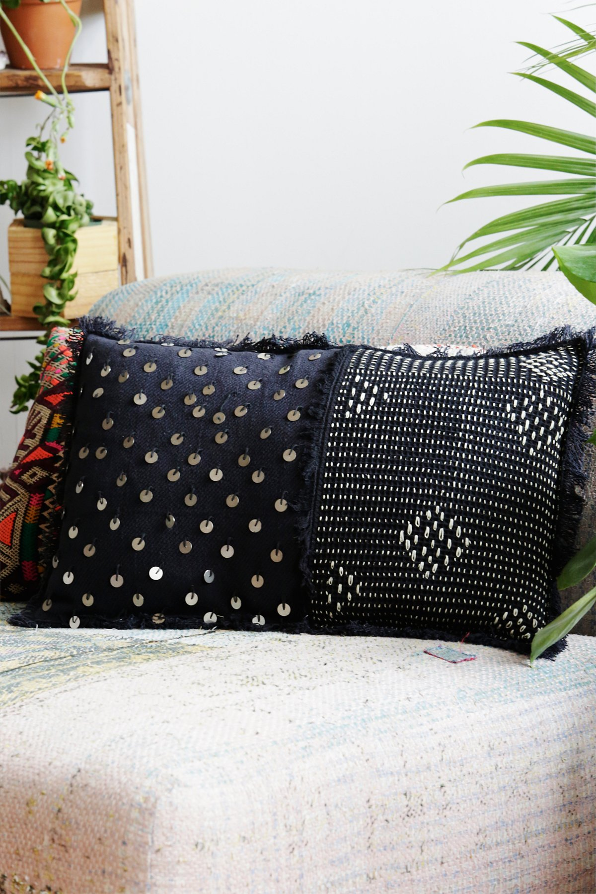 Stitch and Sequin Pillow
