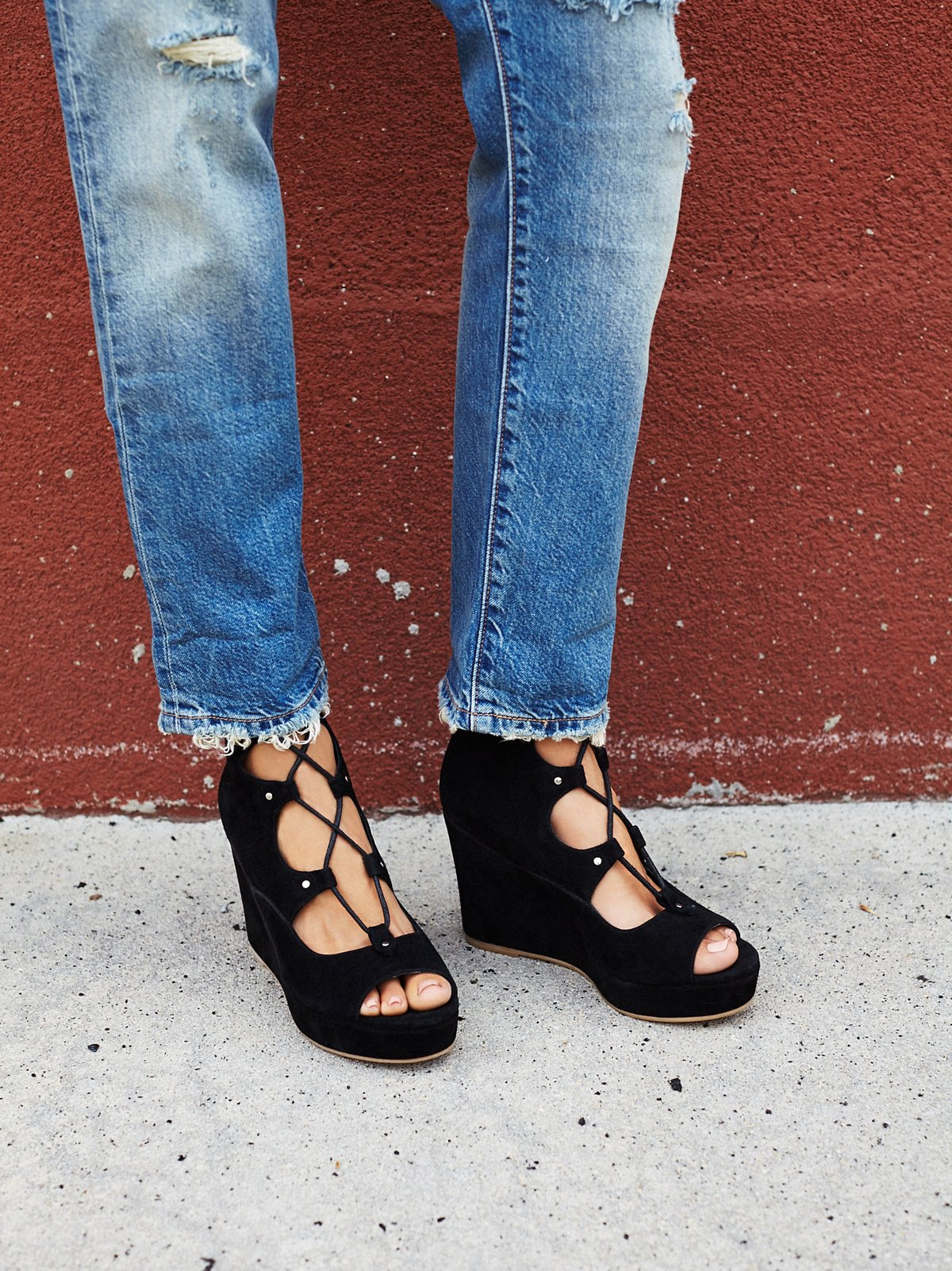 Three Wishes Lace Up Wedge