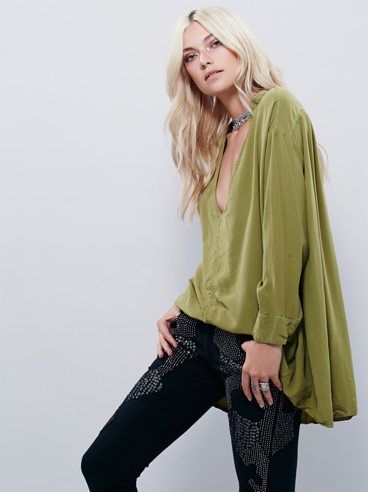 Long Sleeve Silk Sensual Blouse