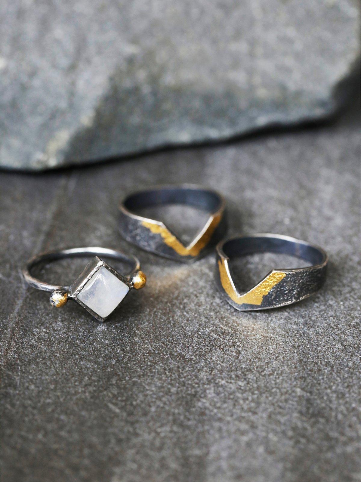 Golden Moon Ring Set