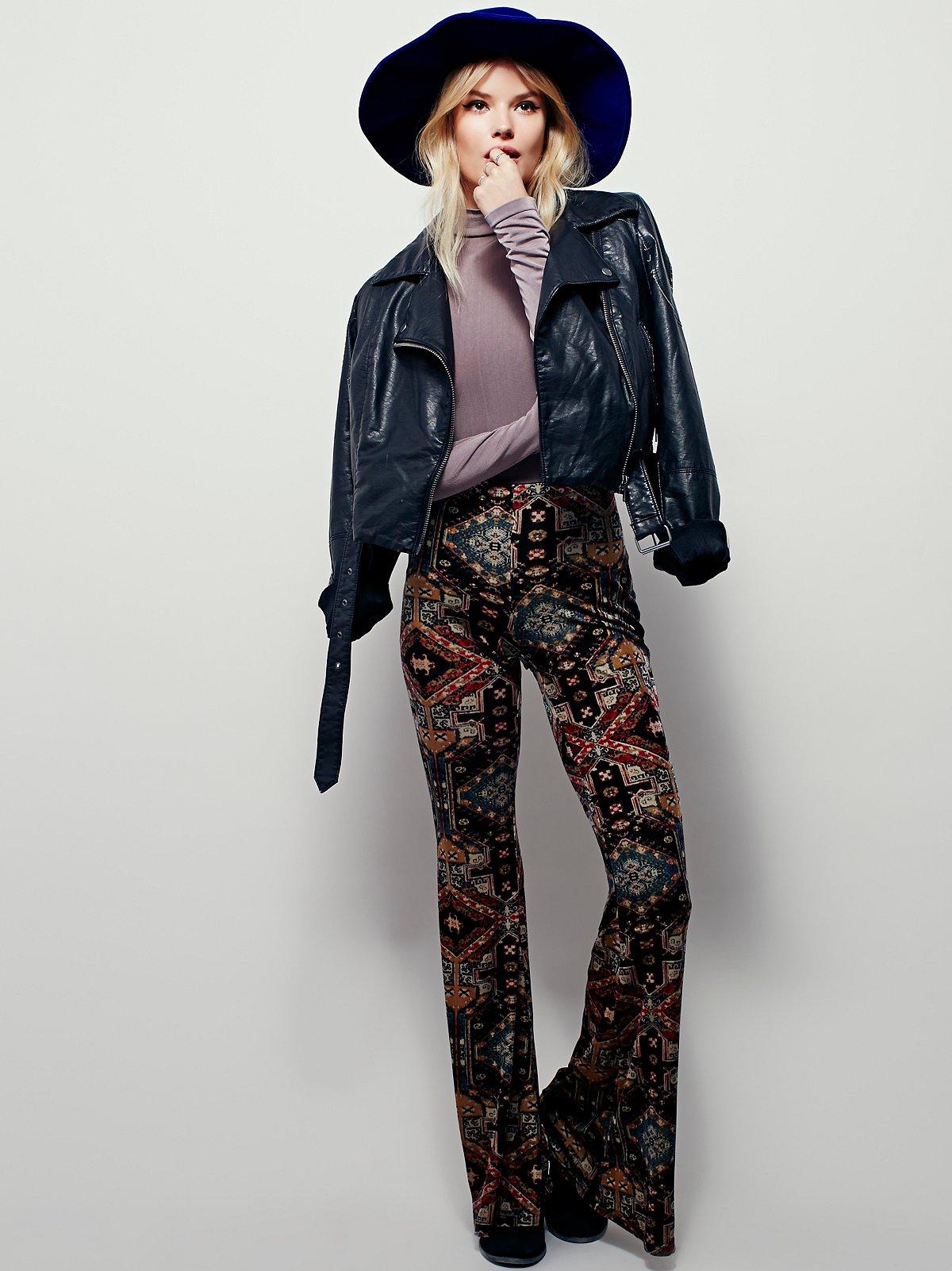 Maura印花天鹅绒喇叭裤