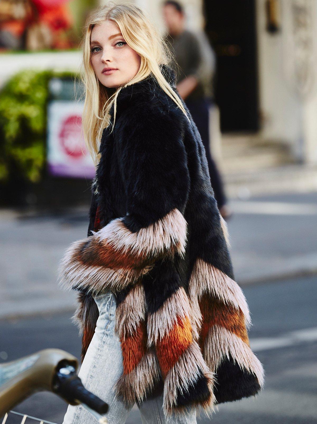 Chevron Fur Coat