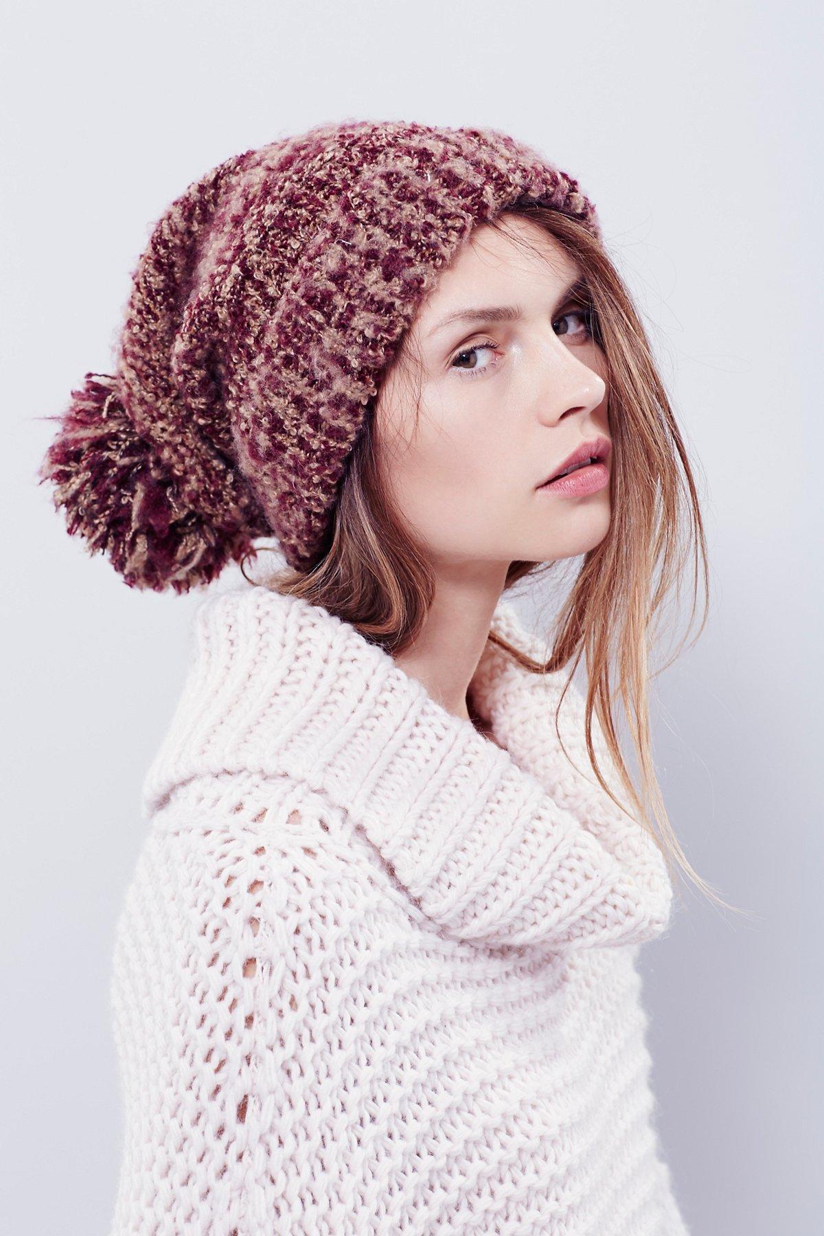 混色毛圈绒球针织帽