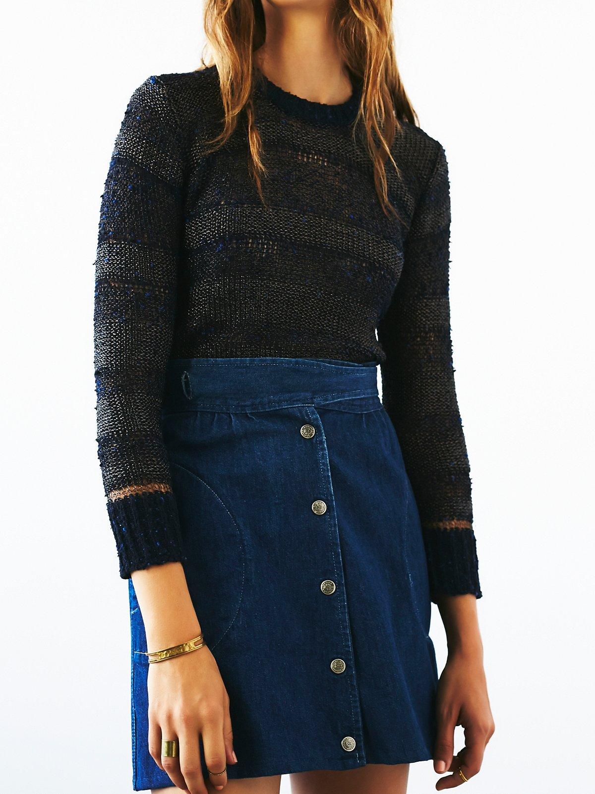 Vintage 1970s Blue Knit Top