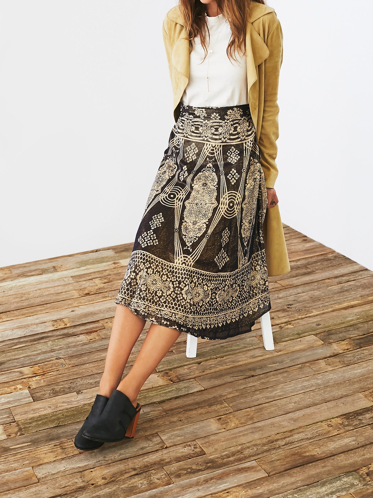Vintage '70s Printed Wrap Skirt