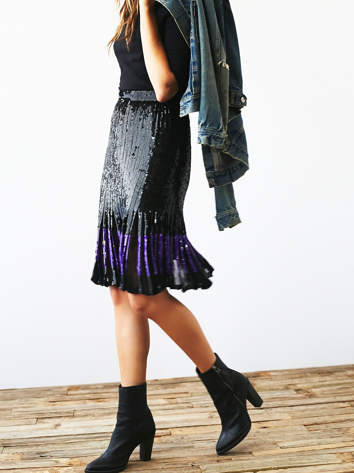 Vintage Black Sequin Skirt
