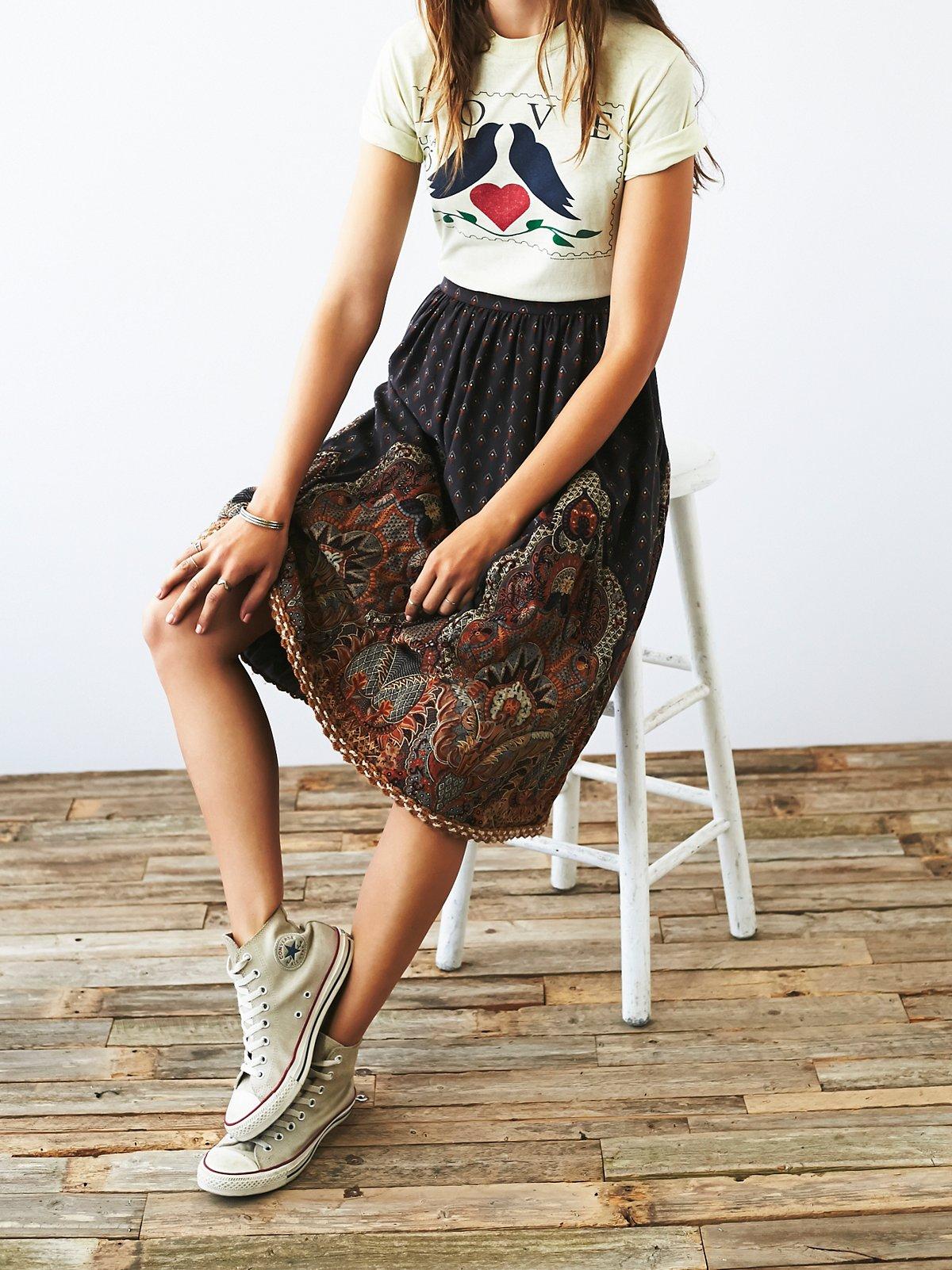Vintage 1980s Printed Skirt