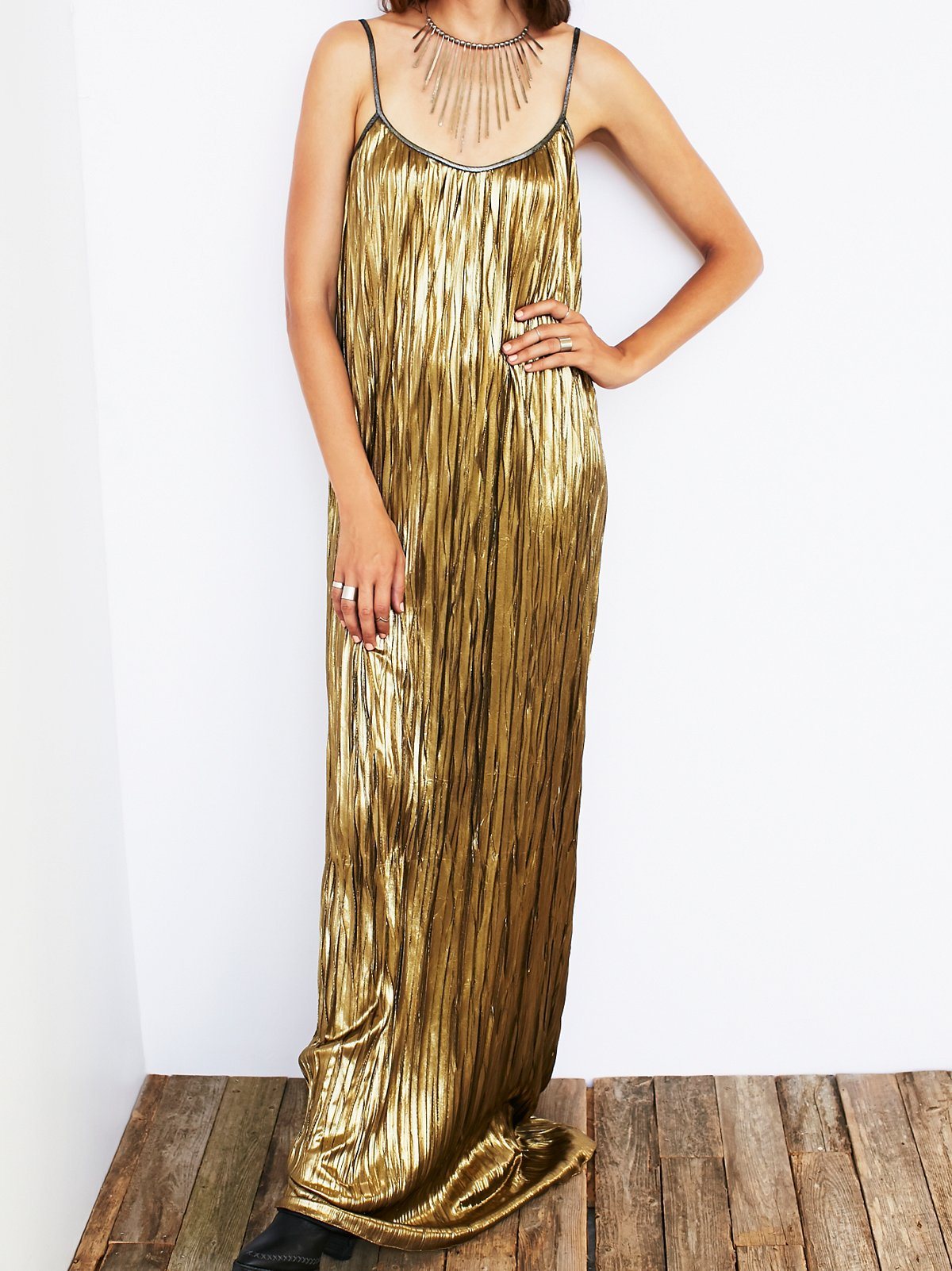 Vintage 70s Liquid Gold Dress