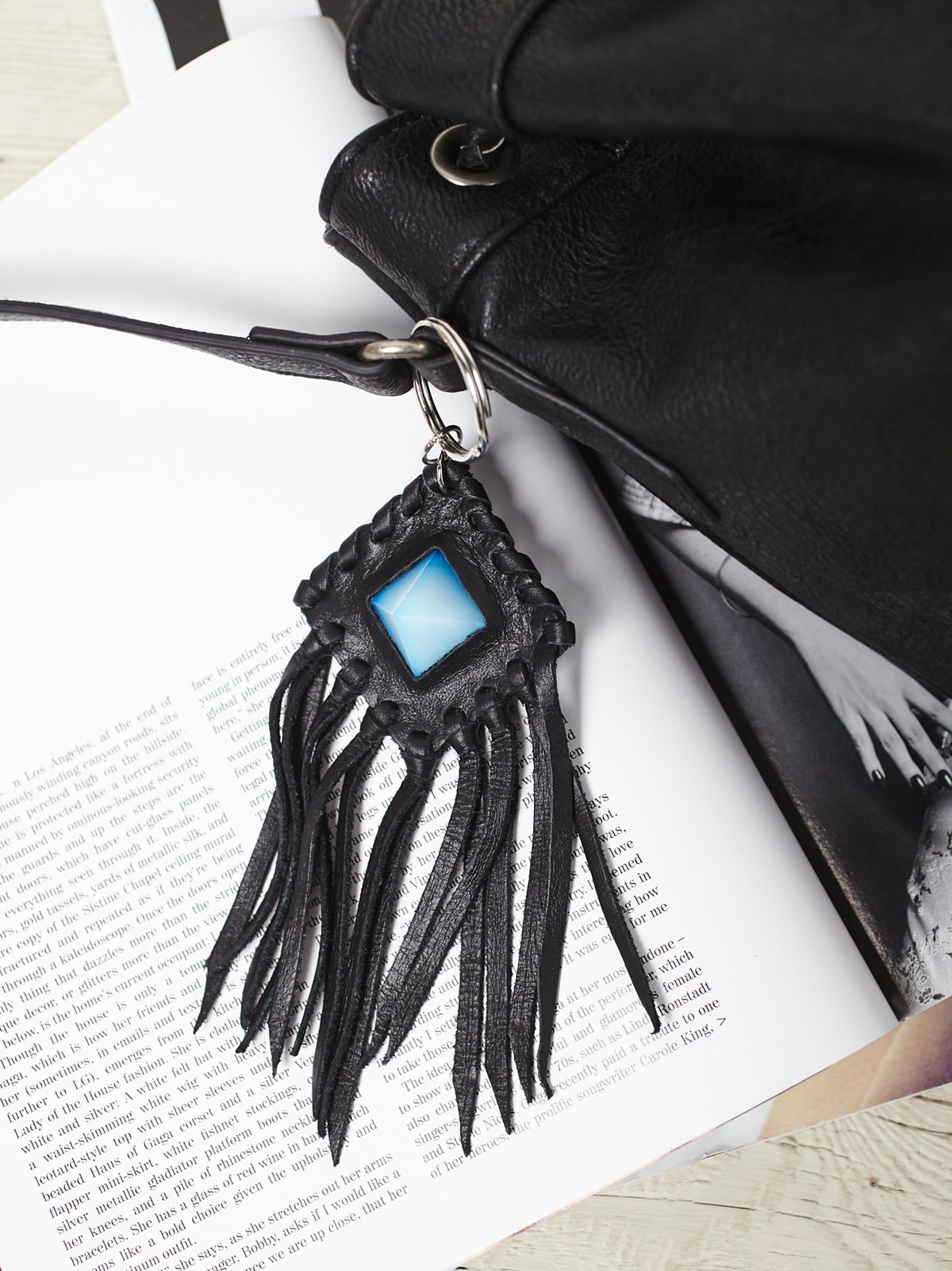 Leather  Crystal Amulet Keychain