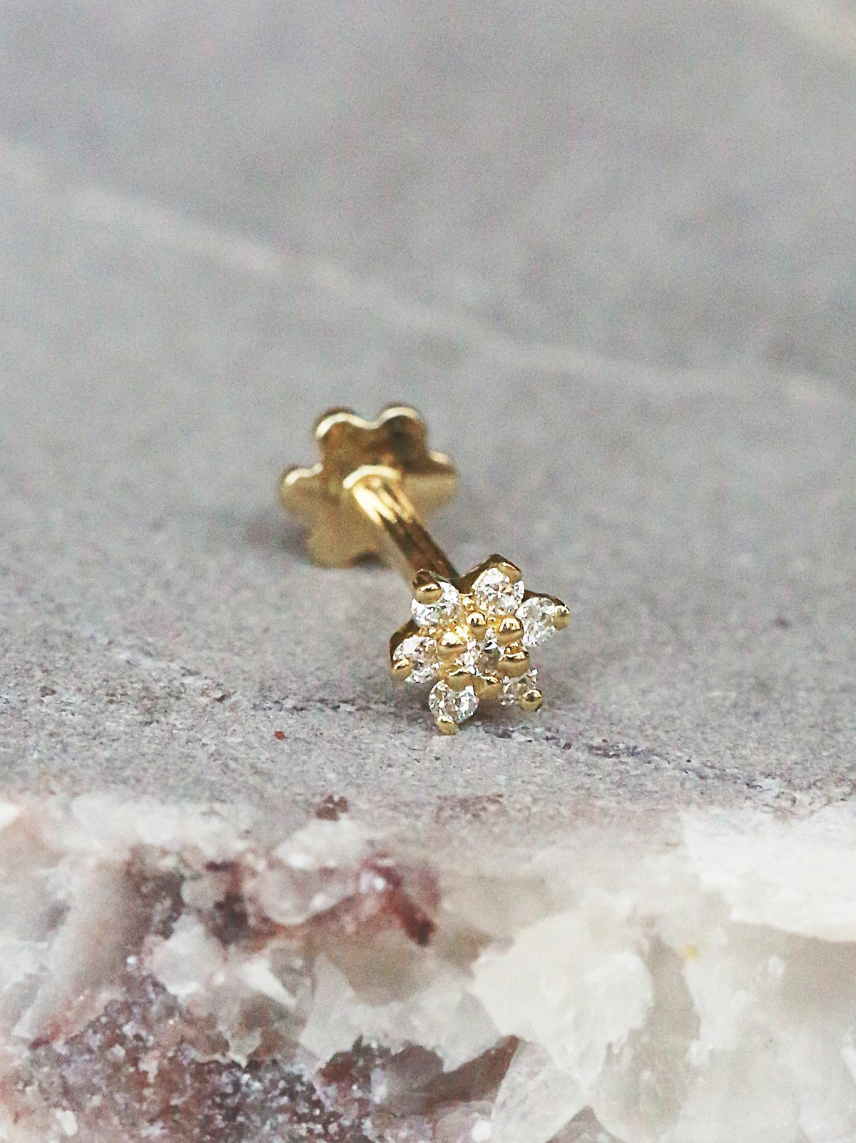 Diamond Flower Helix Stud