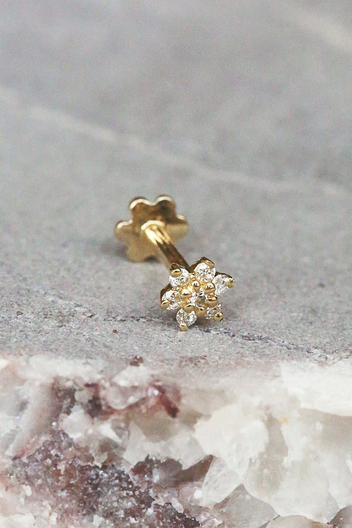 Diamond Flower Helix Stud