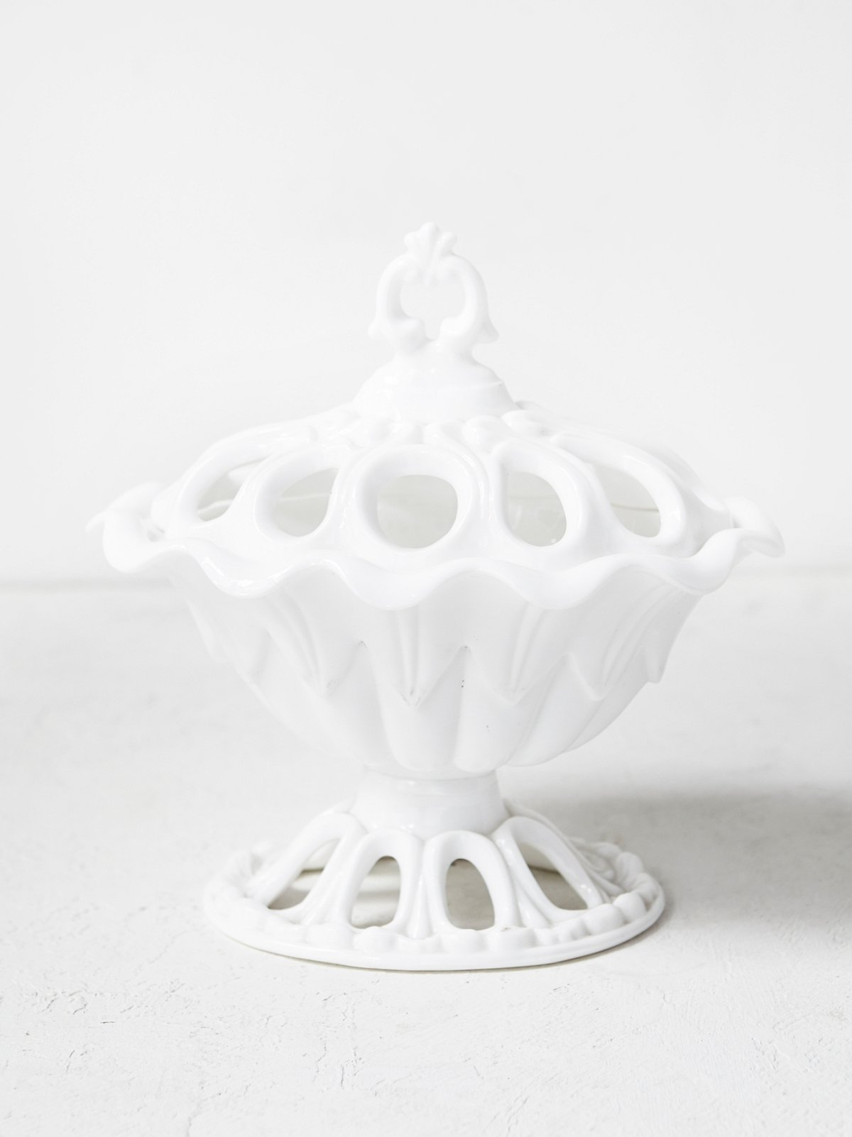 Vintage Milk Glass Boudoir Dish