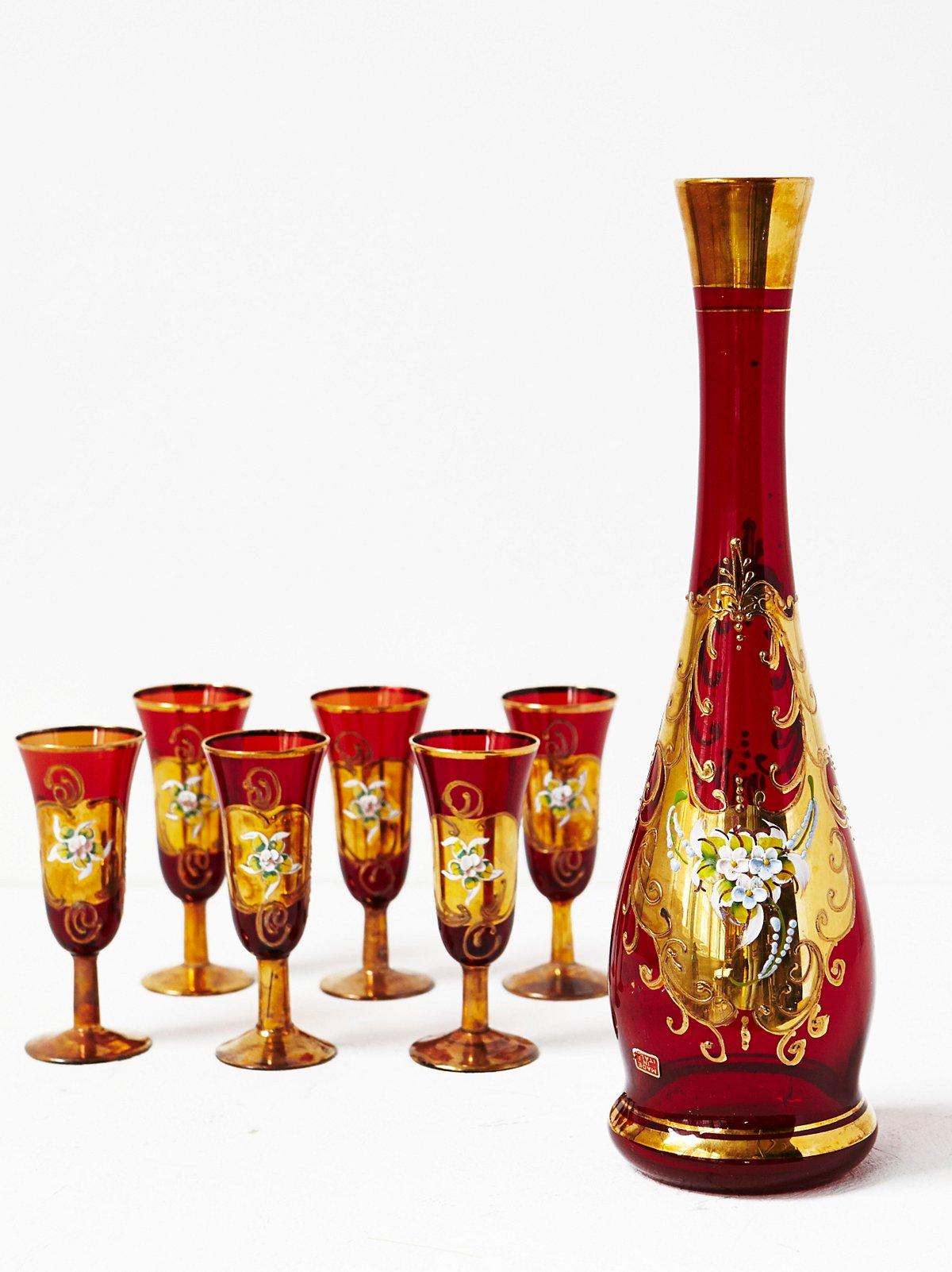Vintage Carafe  Glasses Set