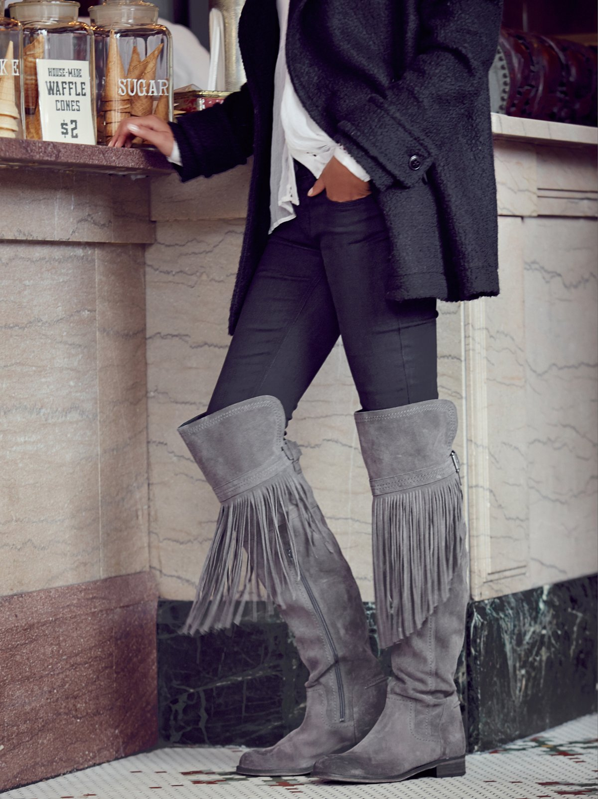 Can't Stop Fringe Over The Knee Boot