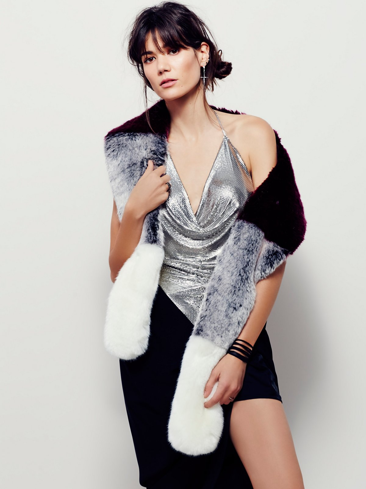 Vivian Color Block Faux Fur Stole