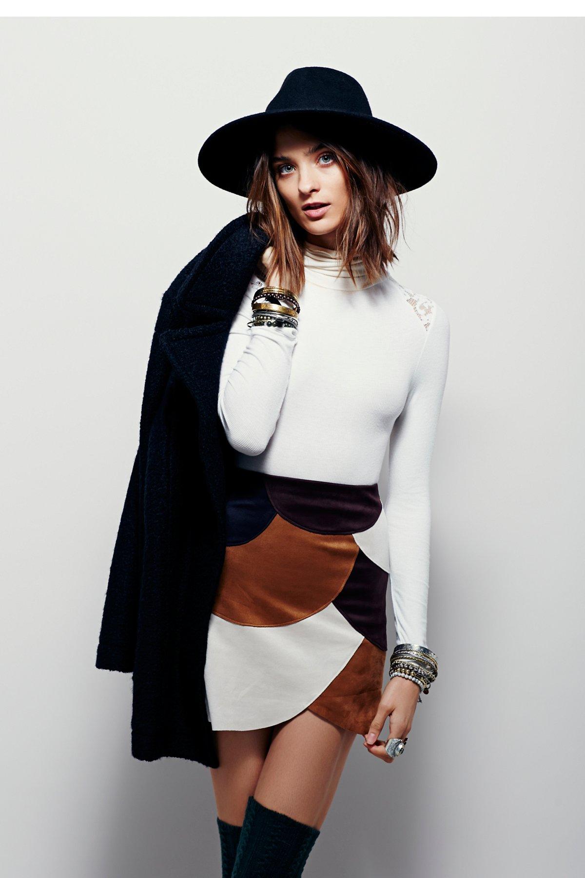 Retro Patchwork Vegan Mini Skirt