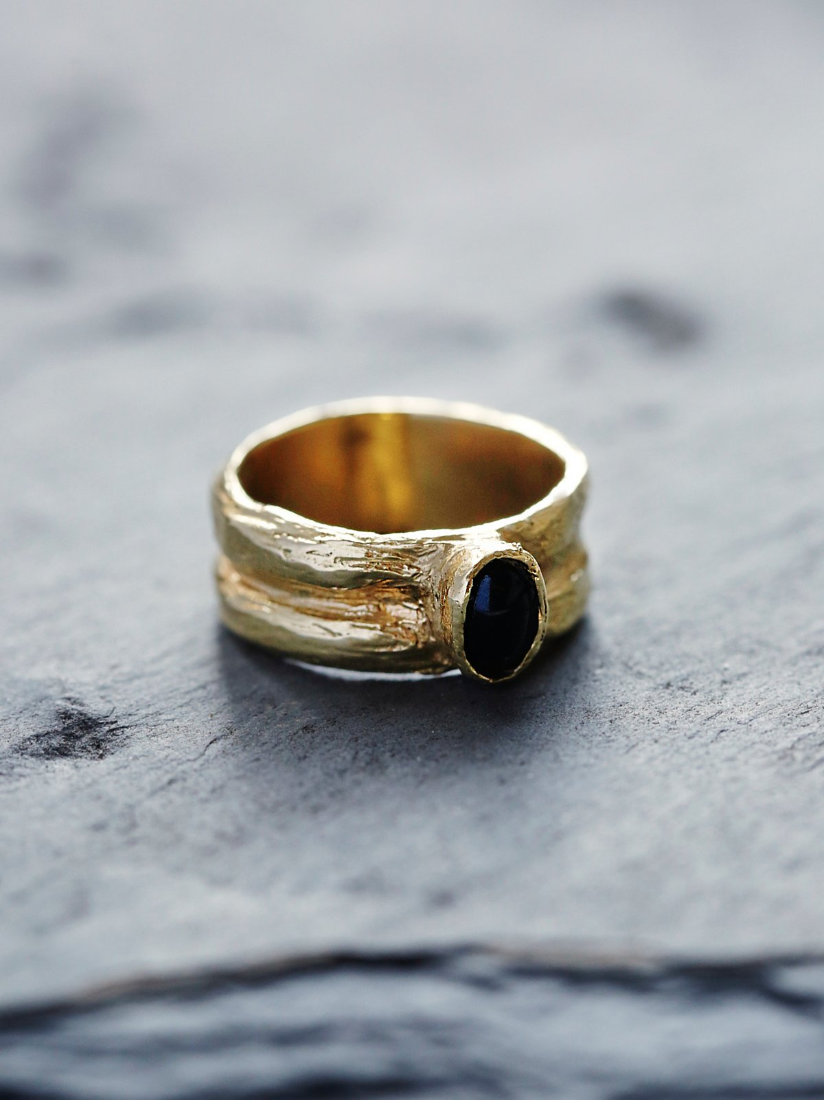 Oval Black Agate Ring