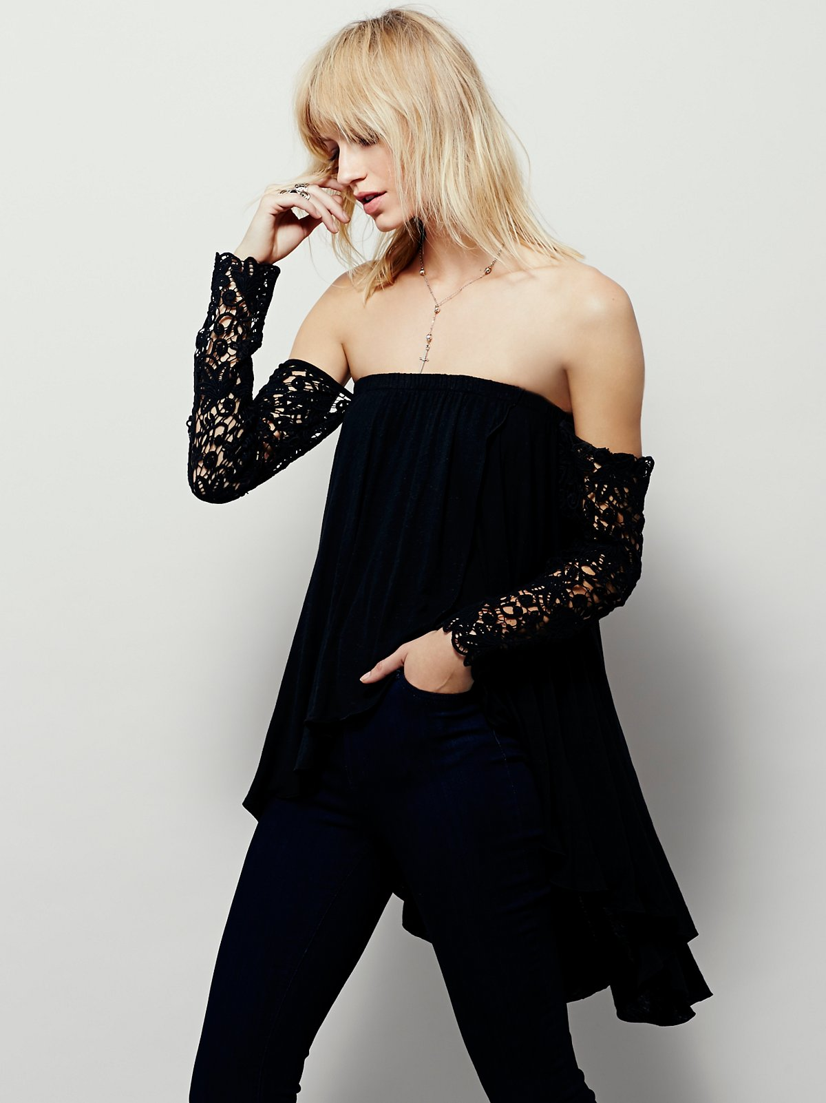 FP X Lace Sleeve Top
