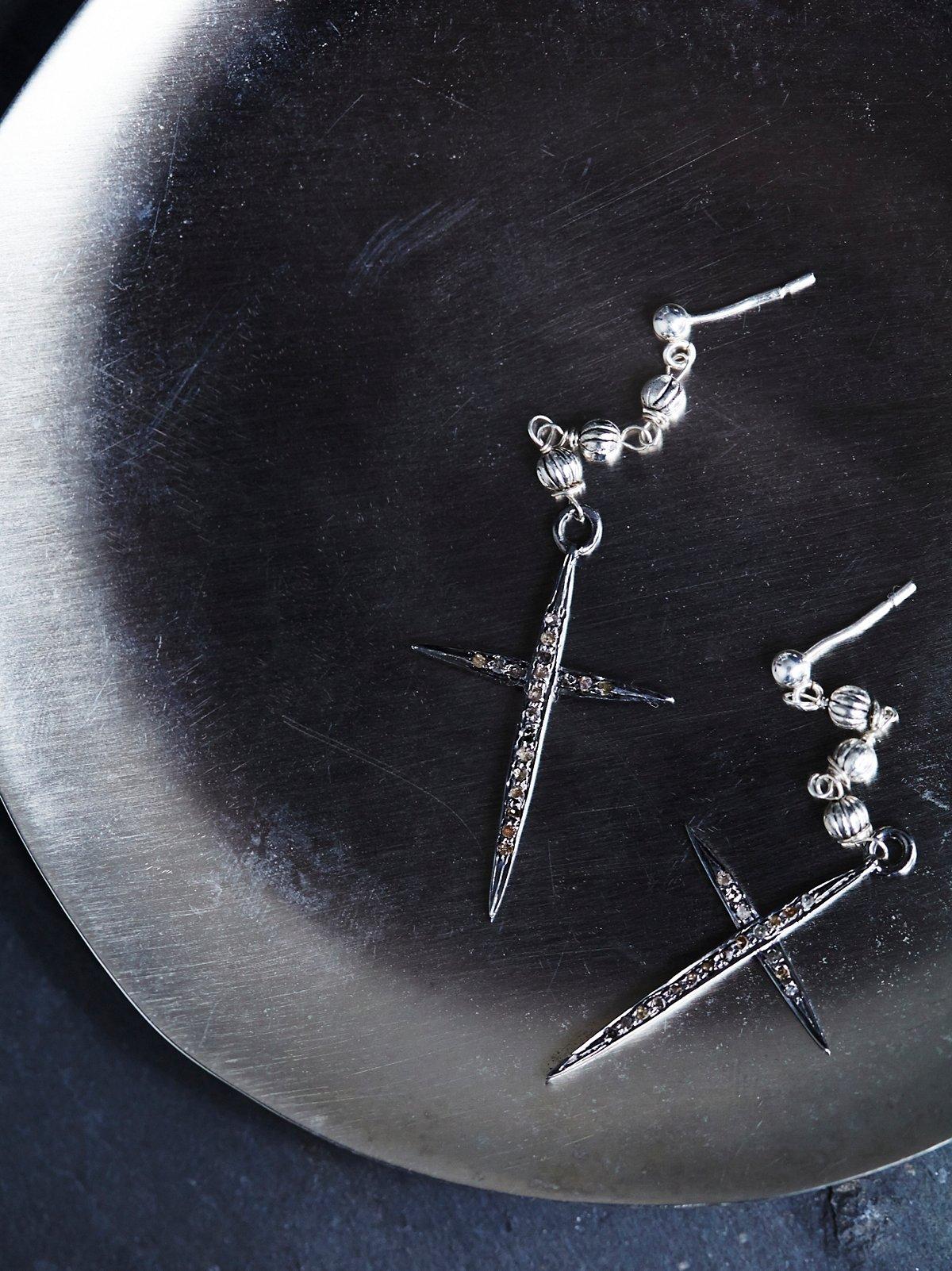 Jet Plane Diamond Cross Earring