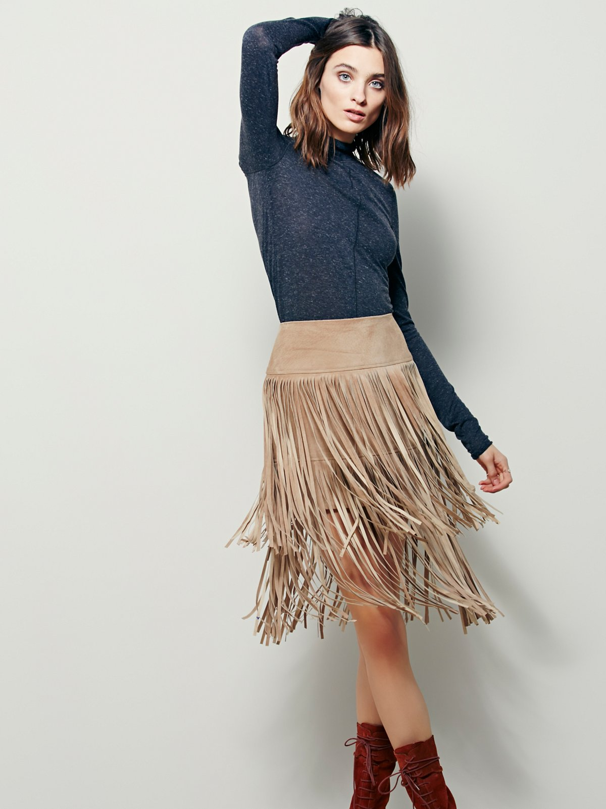 La Vie Boheme Leather Skirt