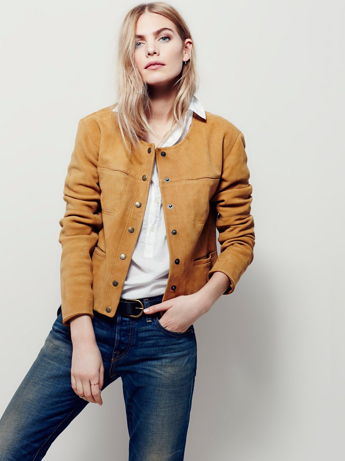 Collarless Saddle Stitch Suede Jacket