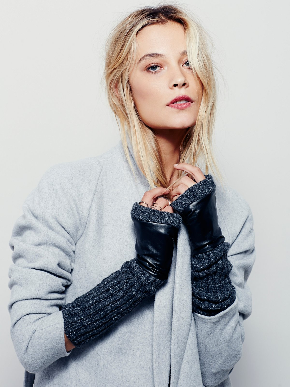 Runaway Knit Leather Fingerless Glove